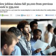Lowest weekly jobless claims in 4.5 years – or is it ??